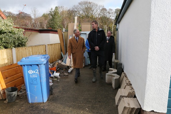 Prince Charles, Prince of Wales Visits Flood Victims In North Wales
