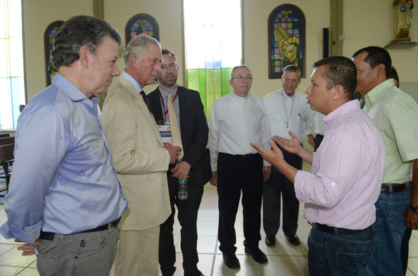 Prince Charles, Prince of Wales and the President of Colombia Juan Manuel Santos visit La Macarena Church on October 30, 2014 in La Macarena, Colombia. The Royal Couple are on a four day visit to Colombia as part of a Royal tour to Colombia and Mexico. After fifty years of armed conflict in Colombia the theme for the visit is Peace and Reconciliation.