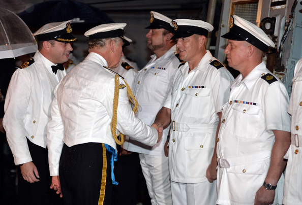The Prince of Wales, Admiral of the Fleet arrives for a Sunset Ceremony and Reception on board HMS Argyll on October 31, 2014 in Cartagena, Colombia. Prince Charles, Prince Of Wales and Camilla, Duchess Of Cornwall are on a four day visit to Colombia as part of a Royal tour to Colombia and Mexico. After fifty years of armed conflict in Colombia the theme for the visit is Peace and Reconciliation.