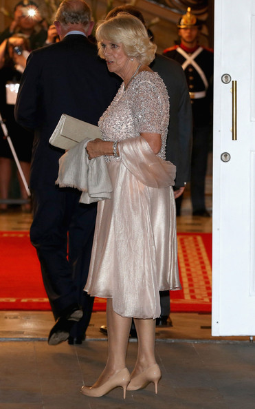 Camilla, Duchess of Cornwall arrives for a State Dinner at the Presidential Palace for an Official Welcome on October 29, 2014 in Bogota, Colombia. The Royal Couple are on a four day visit to Colombia as part of a Royal tour to Colombia and Mexico. After fifty years of armed conflict in Colombia the theme for the visit is Peace and Reconciliation.