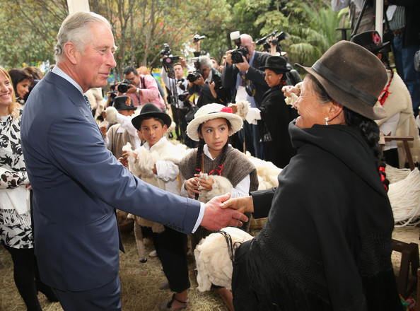 Prince Charles, Prince of Wales meets traditional wool producers at a Sustainability Fair at the Ambassador's Residence on October 29, 2014 in Bogota, Colombia. The Royal Couple are on a four day visit to Colombia as part of a Royal tour to Colombia and Mexico. After fifty years of armed conflict in Colombia the theme for the visit is Peace and Reconciliation.