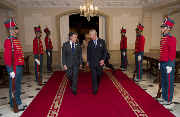 Prince Charles, Prince of Wales and the President of Colombia Juan Manuel Santos attend a State Dinner at the Presidential Palace for an Official Welcome on October 29, 2014 in Bogota, Colombia. The Royal Couple are on a four day visit to Colombia as part of a Royal tour to Colombia and Mexico. After fifty years of armed conflict in Colombia the theme for the visit is Peace and Reconciliation.