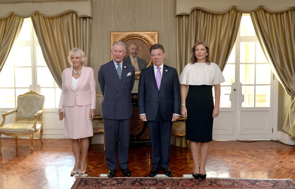Camilla, Duchess of Cornwall poses with Prince Charles, Prince of Wales, President of Colombia Juan Manuel Santos and the First Lady of Colombia Maria Clemencia Rodriguez Munera pose for an official photograph at the Presidential Palace for an Official Welcome on October 29, 2014 in Bogota, Colombia. The Royal Couple are on a four day visit to Colombia as part of a Royal tour to Colombia and Mexico. After fifty years of armed conflict in Colombia the theme for the visit is Peace and Reconciliation.