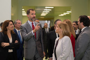 Prince Felipe of Spain with  Mayor of Jerez Maria Jose Garcia-Pelayo and visiting Carbures Europe, a manufacturer specialized in carbon structures technologies for airplanes, on October 28, 2013 in Jerez de la Frontera, Spain.