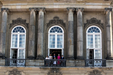 Prince Felix Crown Prince Frederik Of Denmark Receives From The Palace Balcony The People's Homage On His 50th Birthday