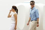 Princess Mary of Denmark and Prince Frederik of Denmark are seen during their visit to 'Sculpture by the Sea' on November 20, 2011 in Sydney, Australia.