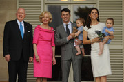 Governor General Quentin Bryce and her husband Michael welcome Prince Frederik of Denmark and Princess Mary of Denmark with their twins Princess Josephine (held by Mary) and Prince Vincent (held by Frederik) to Admiralty House on November 20, 2011 in Sydney, Australia. Princess Mary and Prince Frederik are on their first official visit to Australia since 2008. The Royal visit begins in Sydney, before heading to Melbourne, Canberra and Broken Hill.