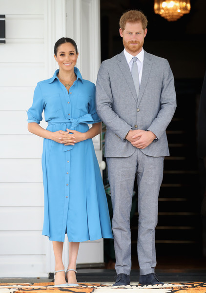 The Duke And Duchess Of Sussex Visit Tonga - Day 2 [blue,suit,fashion,standing,dress,outerwear,formal wear,uniform,electric blue,white collar worker,harry,tonga,duke and duchess of sussex,cities,duke of sussex,tupou college,visit,speech,unveiling,tour]