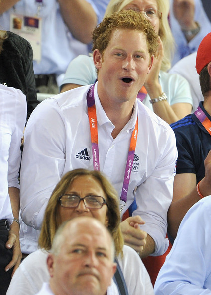 Prince Harry Prince Harry enjoys the atmosphere at the Track Cycling on Day 11 of the London 2012 Olympic Games at the Velodrome on August 7, 2012 in London, England.