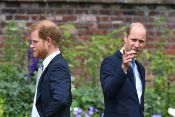 Prince Harry Prince William Diana, Princess Of Wales Statue Unveiling At Kensington Palace
