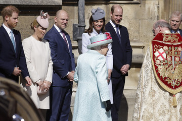 Prince Harry Queen Elizabeth II The Royal Family Attend Easter Service At St George's Chapel, Windsor