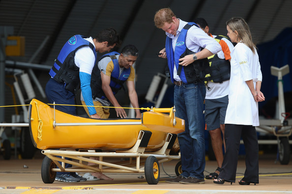 Prince Harry after taking part in canoe rehabilitation therapy session at the Rede Sarah Hospital for Nerological Rehabilitation injuries as he takes part in a canoe therapy session on Lake Paranoa on June 23, 2014 in Brasilia, Brazil.  Prince Harry is on a four day tour of Brazil that will be followed by Two days in Chile.