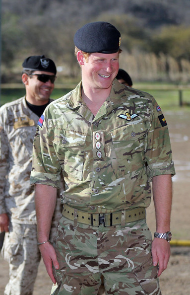 Retransmission of #451359088 with alternate crop.) Prince Harry meets members of the Chilean Special Operations Brigade at Peldehue outside Santiago on June 27, 2014 in Santiago, Chile.  Prince Harry is on a three day tour of Chile after visiting Brazil.