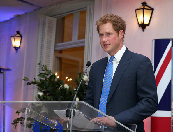 Prince Harry gives a speech at a Queen's Birthday Party event at the British Ambassador's Residence on June 27, 2014 in Santiago, Chile.  Prince Harry is on a three day tour of Chile after visiting Brazil.