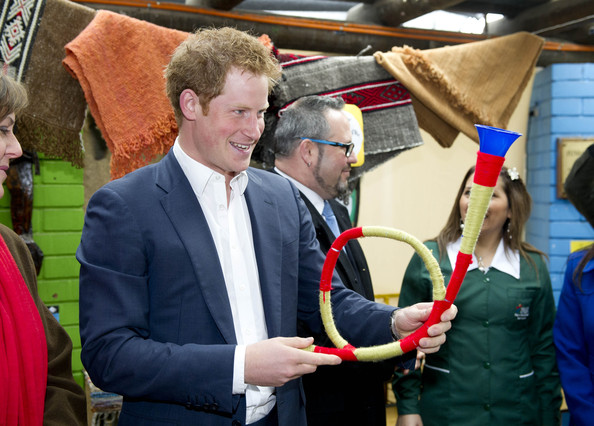 Prince Harry visits a the Sagrada Familia kindergarten, a kindergarden of indigenous children on June 27, 2014 in Santiago, Chile.  Prince Harry is on a three day tour of Chile after visiting Brazil.