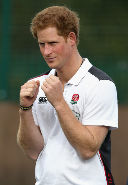 Prince Harry, Patron of England Rugby's All Schools Programme, takes part in a rugby training session at Eccles RFC on October 20, 2014 in Manchester, England.