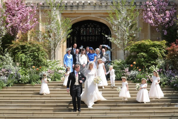 The Wedding Of Lady Gabriella Windsor And Mr. Thomas Kingston [photograph,white,bride,ceremony,wedding dress,dress,wedding,gown,marriage,bridal clothing,gabriella windsor,thomas kingston,bridesmaids,page boys,newlyweds,steps,chapel,st georges chapel,windsor,wedding]