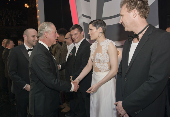 Prince Charles, Prince of Wales meets Jessie J, and Jason Byrne at the Royal Variety Performance at London Palladium on November 25, 2013 in London, England.