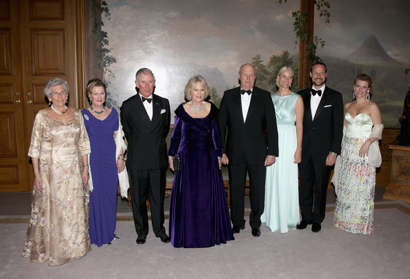 (L-R) Princess Astrid of Norway, Queen Sonja of Norway, Prince Charles, Prince of Wales, Camilla, Duchess of Cornwall, King Harald of Norway, Crown Princess Mette-Marit of Norway,Crown Prince Haakon of Norway and Princess Martha-Louise of Norway attends an official dinner at the Norwegian Royal Palace on March 20, 2012 in Oslo, Norway.  Prince Charles, Prince of Wales and Camilla, Duchess of Cornwall are on a Diamond Jubilee tour of Scandinavia that takes in Norway, Sweden and Denmark.
