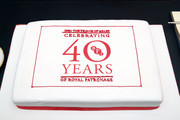 A cake to commemorate the BFI's 40 years of Royal patronage during an official visit by Prince Charles, Prince of Wales to BFI Southbank on December 06, 2018 in London, England.  The Prince of Wales has been Patron of the British Film Institute for 40 years.
