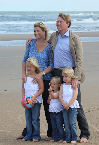 Crown Prince Willem Alexander and Argentine-born Princess Maxima of the Netherlands pose with their daughters Ariane (C), Alexia and Amalia (L) during a photo call at the beach on July 20, 2009 in Wassenaar, Netherlands.