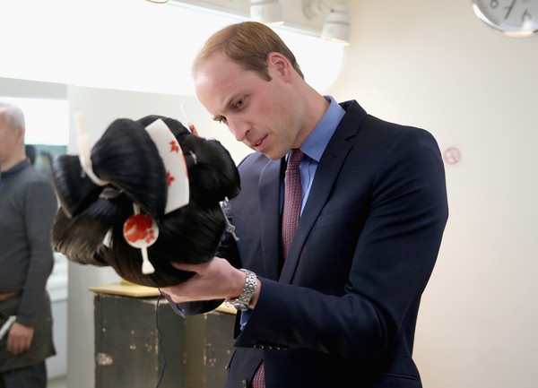 Prince William Prince William, Duke of Cambridge examines a Geisha wig during a visit to the set of a historical drama at NHK Public Broadcasting Studios during the third day of his visit to Japan on February 28, 2015 in Tokyo, Japan. The Duke of Cambridge is visiting Japan from February 26th to March 1st 2015.