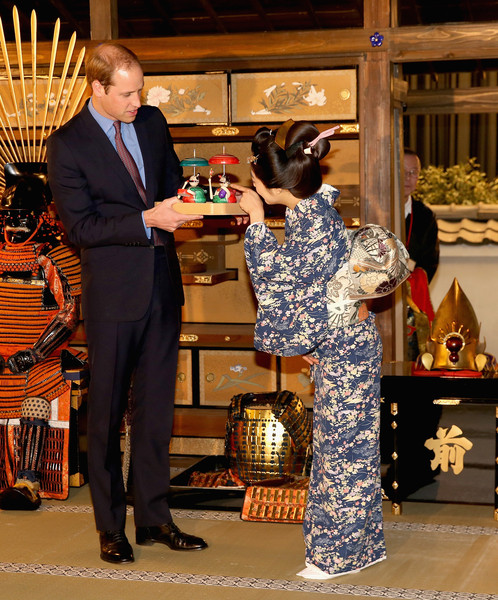 Prince William Prince William, Duke of Cambridge is given a gift by an actress during a visit to the set of a historical drama at NHK Public Broadcasting Studios during the third day of his visit to Japan on February 28, 2015 in Tokyo, Japan. The Duke of Cambridge is visiting Japan from February 26th to March 1st 2015.