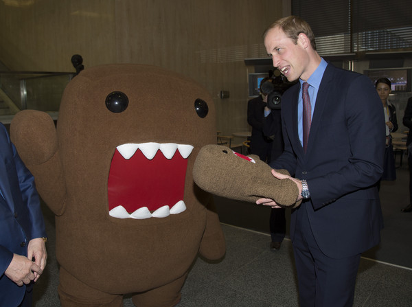 Prince William Prince William, Duke of Cambridge meets NHK mascot 'Domo' during a visit to NHK Public Broadcasting Studios on the third day of his visit to Japan on February 28, 2015 in Tokyo, Japan. The Duke of Cambridge is visiting Japan from February 26th to March 1st 2015.