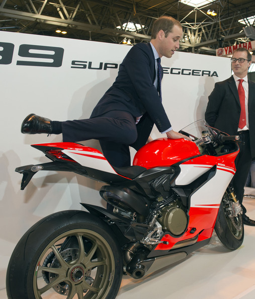 Prince William Prince William, Duke of Cambridge sits on a Ducati during a visit to Motorcycle Live at the National Exhibition Centre, where he toured the stands and watched a live motorcycle display on November 30, 2013 in Birmingham, United Kingdom.