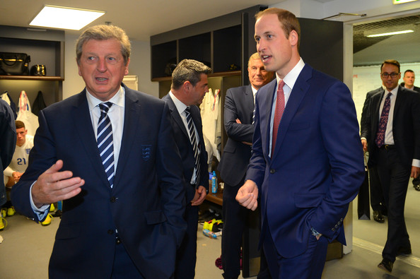 Prince William 30 GMT) In this handout image provided by The FA,  President of the Football Association Prince William, Duke of Cambridge speaks to England manager Roy Hodgson after the International Friendly match between England and Peru at Wembley Stadium on May 30, 2014 in London, England.