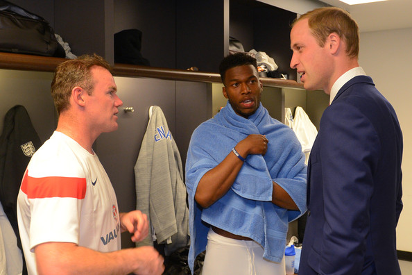 Prince William 30 GMT) In this handout image provided by The FA,  President of the Football Association Prince William, Duke of Cambridge speaks to England players Wayne Rooney and Daniel Sturridge in the team changing room after the International Friendly match between England and Peru at Wembley Stadium on May 30, 2014 in London, England.