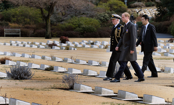 Prince William Prince William, Duke of Cambridge arrives at the Hodogaya Commonwealth War Graves Cemetery in Yokohama to lay a Wreath and pay his respects in Yokohama just outside the capital city of Tokyo on February 27, 2015 in Tokyo, Japan. The Duke of Cambridge is visiting Japan from February 26th to March 1st 2015.