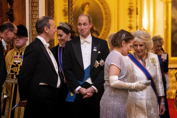 Royals Attend A Reception For The Diplomatic Corps At Buckingham Palace