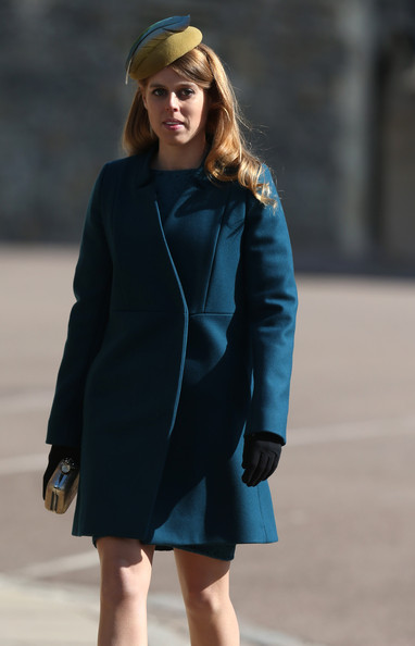 The Royal Family Attend The Easter Matins Service At Windsor Castle [the royal family,clothing,street fashion,coat,blue,cobalt blue,fashion,electric blue,outerwear,fashion model,overcoat,beatrice,service,windsor castle,st georges chapel,grounds,england,easter matins service]
