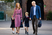 Princess Charlotte arrives for her first day of school, with her brother Prince George and her parents the Duke and Duchess of Cambridge, at Thomas's Battersea in London on September 5, 2019 in London, England.