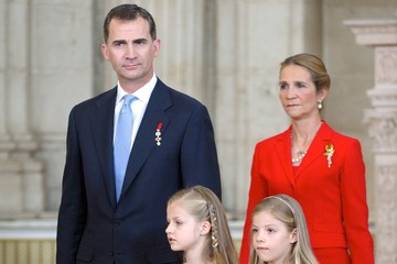Princess Elena King Felipe VI of Spain King Juan Carlos I Signs Official Abdication Papers