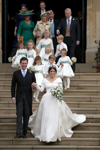 Princess Eugenie Of York Marries Mr. Jack Brooksbank [wedding dress,gown,photograph,bridal clothing,bride,dress,marriage,wedding,ceremony,event,jack brooksbank,eugenie of york,page boys,princess,bridesmaids,steps,york,st. georges chapel,england,wedding ceremony]
