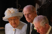 Queen Elizabeth II Prince Philip, Duke of Edinburgh and Prince Charles, Prince of Wales attend the wedding of Princess Eugenie of York and Mr. Jack Brooksbank at St. George's Chapel on October 12, 2018 in Windsor, England.