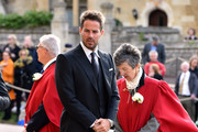 Jamie Redknapp arrives ahead of the wedding of Princess Eugenie of York to Jack Brooksbank at Windsor Castle on October 12, 2018 in Windsor, England.