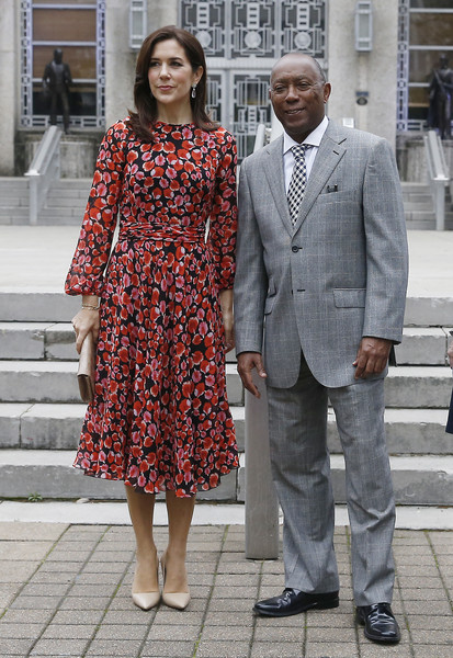 HRH The Crown Princess Of Denmark Visits Austin And Houston, Texas [clothing,street fashion,fashion,suit,snapshot,standing,dress,human,outerwear,formal wear,hrh,sylvester turner,mary crown princess of denmark,steps,houston,texas,city hall,denmark visits austin]
