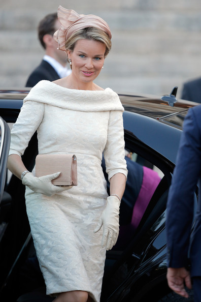 Princess Mathilde Princess Mathilde of Belgium  is seen in front of the Cathedral of St Michael and Saint Gudula prior to the Abdication Of King Albert II Of Belgium, & Inauguration Of King Philippe on July 21, 2013 in Brussels, Belgium.