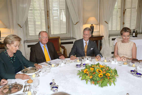 King Albert II Receives Regional Ministers at Laeken Castle [albert ii,philippe,paola,mathilde of belgium,regional ministers,meal,event,lunch,management,dinner,brunch,supper,businessperson,meeting,banquet,belgium,brussels,laeken castle]