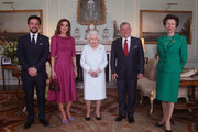 (L-R)  Crown Prince Hussein of Jordan, Queen Rania of Jordan, Queen Elizabeth II, King Abdullah II of Jordan and Princess Anne, Princess Royal during a private audience at Buckingham Palace on January 1, 2019 in London, England.