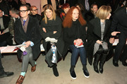 (L-R) Hamish Bowles, fashion editor Virginia Smith, Grace Coddington, and Anna Wintour attend the Proenza Schouler fashion show during Mercedes-Benz Fashion Week Fall 2014 on February 12, 2014 in New York City.
