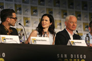 (L-R) Actors Michael Malarkey, Laura Mennell, and Neal McDonough attend the Project Blue Book panel at Comic-Con International on July 21, 2018 in San Diego, California.