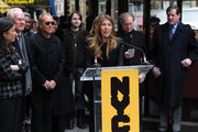 CEO and President of Lifetime Networks Andrea Wong, Tim Gunn, Michael Kors and Nina Garcia attend the Project Runway Avenue temporary street renaming at 39th Street and Seventh Avenue on January 13, 2010 in New York City.