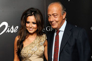 Cheryl Cole (L) and Fawaz Gruosi attend the press launch for 'Promise', a new capsule ring collection created by Cheryl Cole and de Grisogono, at Nobu London on September 29, 2010 in London, England.