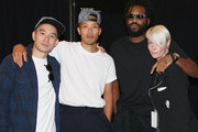 (L-R) Eugene Tong, Dao-Yi Chow, Maxwell Osborne and Kate Lanphear pose backstage at Public School fashion show during Spring 2016 New York Fashion Week: The Shows  at The Arc, Skylight at Moynihan Station on September 13, 2015 in New York City.