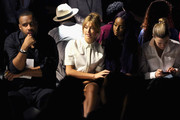 Model Hailey Baldwin, singer Justine Skye, and Chelsea Leyland attend Public School Spring 2016 during New York Fashion Week: The Shows at The Arc, Skylight at Moynihan Station on September 13, 2015 in New York City.