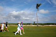 (L-R) Azahara Munoz of Spain, Inbee Park of South Korea and Paula Creamer play the eighth hole during round one of the Pure Silk Bahamas LPGA Classic at the Ocean Club course on February 5, 2015 in Paradise Island, Bahamas.